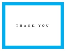 Simply Modern Blue Border Thank You Cards