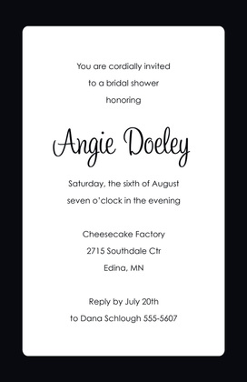 Teal Panel Black Border Invitations
