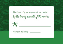 Dark Green Flourish RSVP Cards