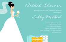 Standing Bride Gifts Teal Bridal Shower Invitations