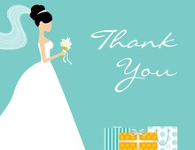 Standing Bride Gifts Teal Thank You Cards