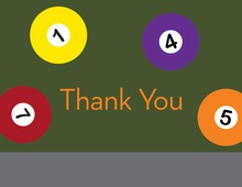 Modern Pool Table Thank You Cards