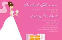 Brunette Bride Gifts Pink Bridal Shower Invitations