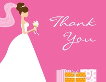 Brunette Bride Gifts Pink Thank You Cards
