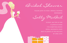 Blonde Bride Gifts Pink Bridal Shower Invitations