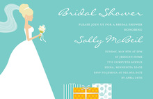 Blonde Bride Gifts Teal Bridal Shower Invitations