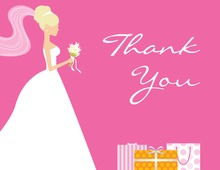 Blonde Bride Gifts Pink Thank You Cards