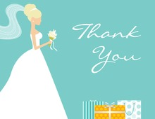 Blonde Bride Gifts Teal Thank You Cards