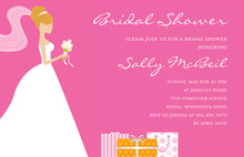 Red-Head Bride Gifts Pink Bridal Shower Invitations