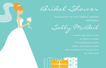 Red-Head Bride Gifts Teal Bridal Shower Invitations