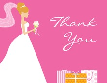 Red-Head Bride Gifts Pink Thank You Cards