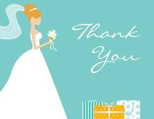 Red-Head Bride Gifts Teal Thank You Cards