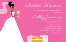 African-American Gifts Pink Bridal Shower Invitations