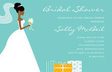 African-American Gifts Teal Bridal Shower Invitations