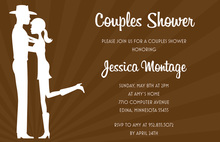 Western Couple Embracing Kiss Couple Shower Invites