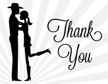 Silhouette Western Couple Thank You Cards