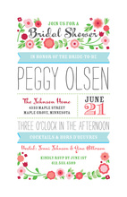 Vintage Flowery Tulips Images Bridal Shower Invites