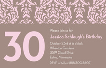 Customize Birthday Pink Damask Invitations