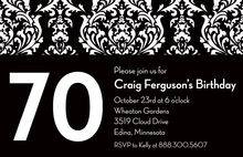 Customize Birthday Black Damask Invitations