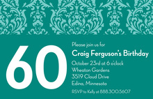 Customize Birthday Teal Damask Invitations