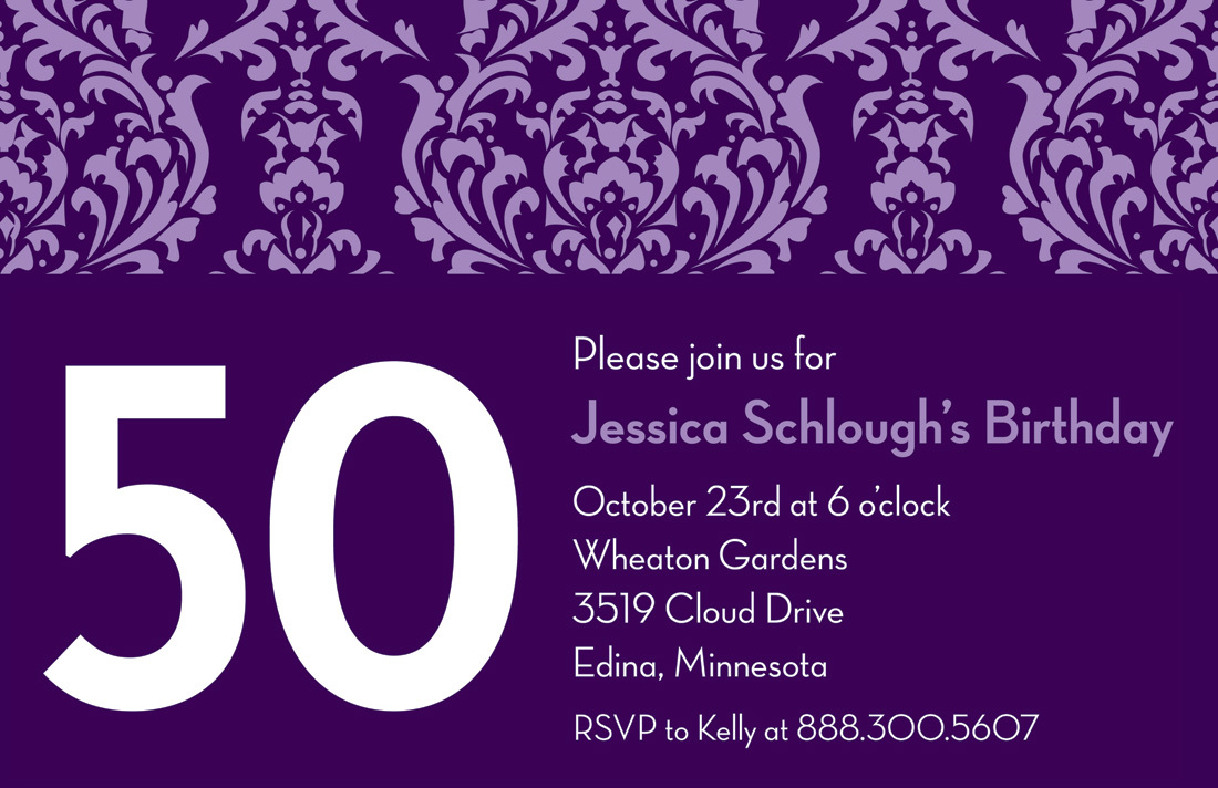 Customize Birthday Purple Damask Invitations