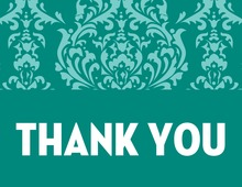 Lovely Teal Damask Thank You Cards