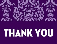 Lovely Purple Damask Thank You Cards