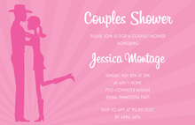 Pink Cowboy Couple Bridal Shower Invitations