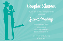 Teal Cowboy Couple Bridal Shower Invitations