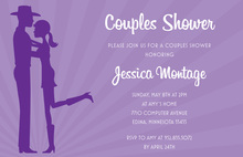 Purple Sunburst Silhouette Western Couple Invitations