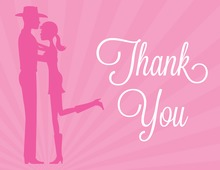 Pink Cowboy Couple Shower Thank You Cards