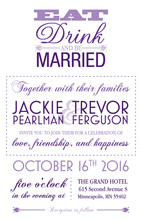 Eat Drink Be Married Purple Text Invitations