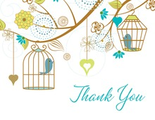 Eclectic Branch Wedding Birds Thank You Cards