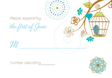 Eclectic Branch Wedding Birds RSVP Cards