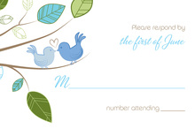 Cuddling Wedding Birds RSVP Cards