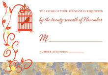 Romantic Red-Orange Flourish RSVP Cards