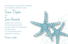Stylish Slate Blue Starfish Beach Invitations