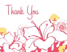 Pink Hibiscus Flowers Thank You Cards