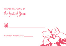 Pink Hibiscus Flower RSVP Cards