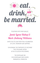 Eat Drink Married Bold In Complete Pink Invitations