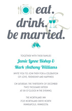 Eat Drink Married Bold Teal Wedding Invitations