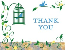Classic Bird Cage Vines White Thank You Cards