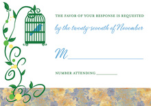 Modern Bird Cage Among Vines White RSVP Cards