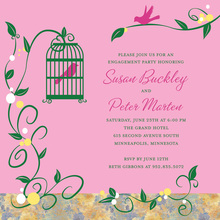 Lovely Bird Cage Among Vines Pink Invitations