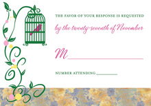 Lovely Bird Cage Among Vines Pink RSVP Cards