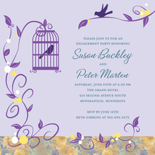 Modern Bird Cage Among Vines Purple Square Invites