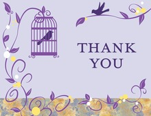 Modern Bird Cage Vines Purple Thank You Cards