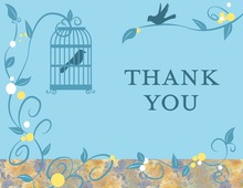 Bird Cage Among Vines Blue Thank You Cards