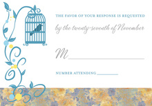 Bird Cage Among Vines Blue RSVP Cards