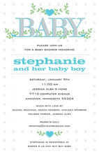 Branching Hearts Blue Baby Invitations